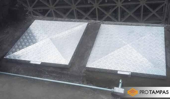 Tampa de alumínio para reservatório de água